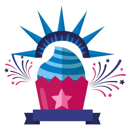 cupcake american happy independence day vector illustration Иллюстрация