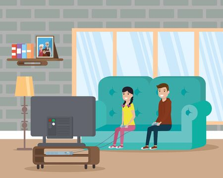 child in living room watching television vector illustration