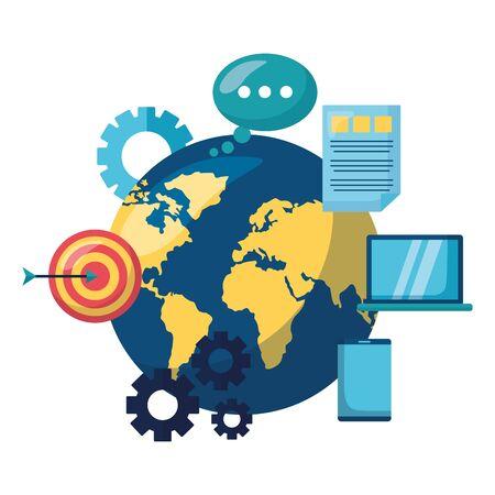 business world target message laptop mobile vector illustration