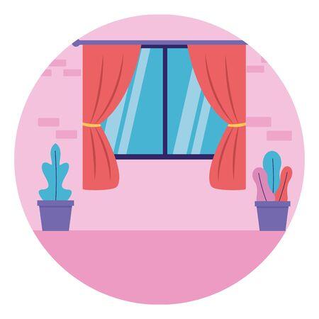 room window curtains plants in pots vector illustration Иллюстрация
