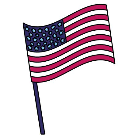 flag in pole american happy independence day vector illustration