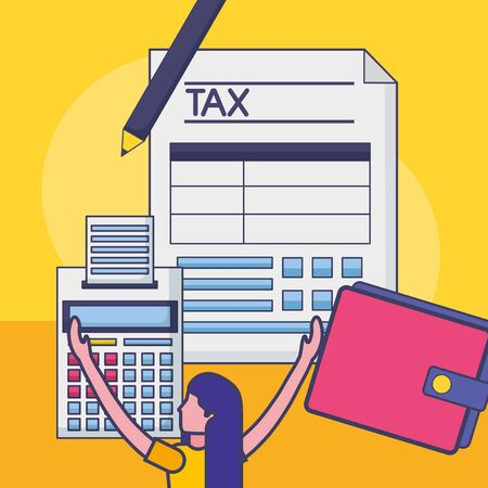 Avatar woman with tax design, Money finance accounting commerce market payment and government theme Vector illustration Illustration