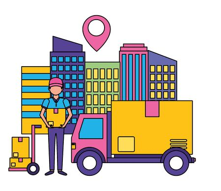 man and truck cardboard box destination city fast delivery vector illustration