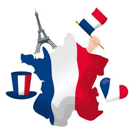 france map eiffel tower flag heart happy bastille day flat design vector illustration