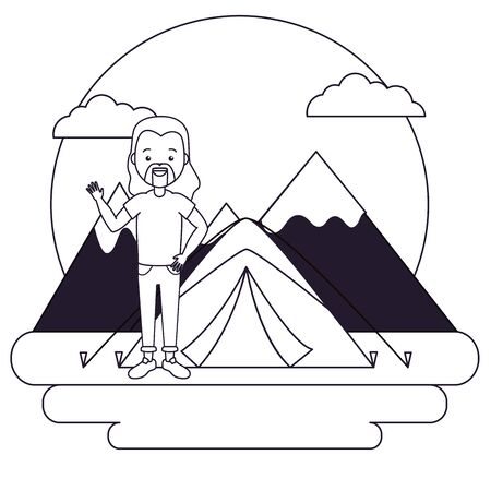 man camping tent vacations mountians vector illustration
