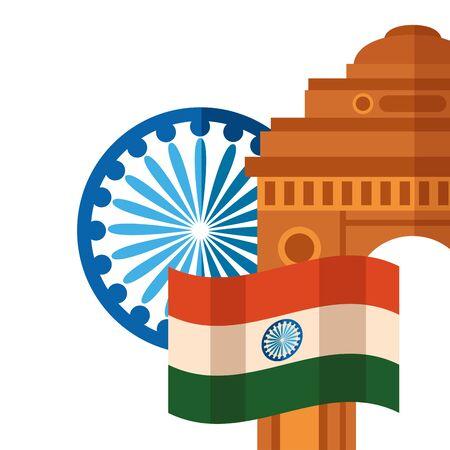 indian flag with gateway mosque and ashoka chakra vector illustration design Иллюстрация