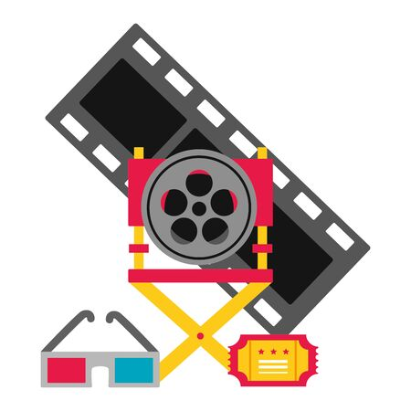 director chair reel film glasses ticket cinema movie vector illustration Imagens - 130165201