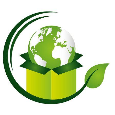 world box emblem eco friendly environment vector illustration Ilustração