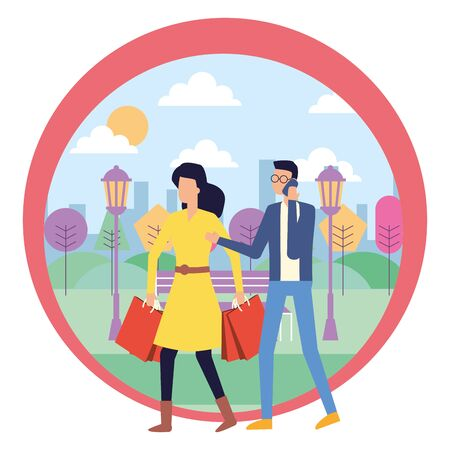 man using smartphone and woman with shopping bag outdoors vector illustration
