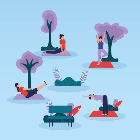 park yoga outdoor women concentration flexing body vector illustration