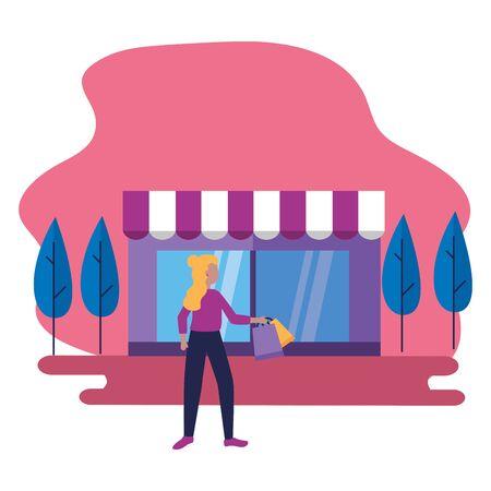 woman customer shopping bag commerce vector illustration