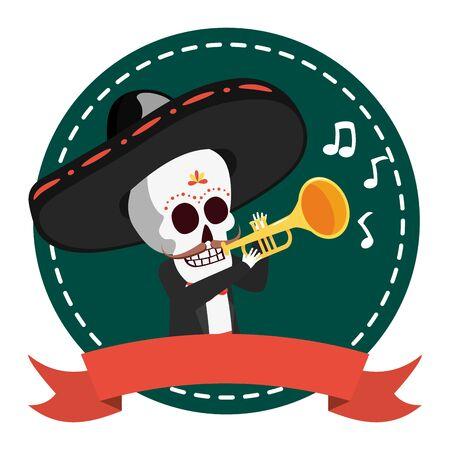 mexican skull mariachi playing trumpet vector illustration design Archivio Fotografico - 130167113