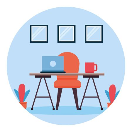 desk chair coffee cup laptop plants windows workplace office furniture vector illustration Illustration