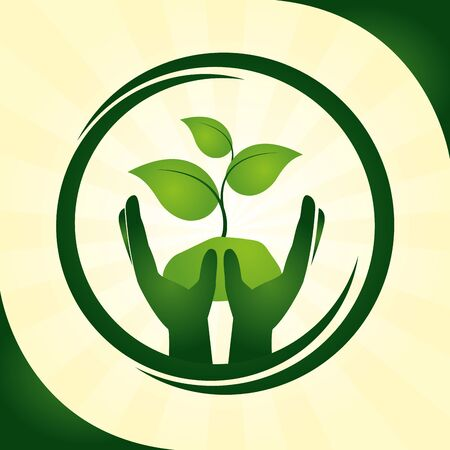 circle hands holding plant natural eco friendly vector illustration Ilustracja