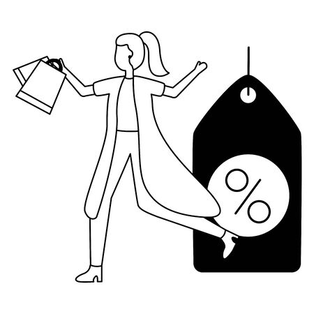 woman shopping bags discount commerce vector illustration