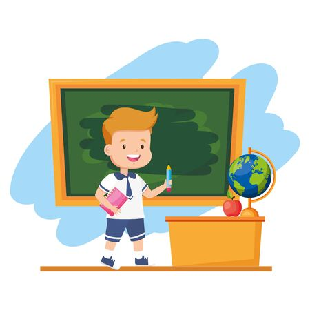boy student with book and pencil chalkboard desk map apple back to school vector illustration Ilustrace