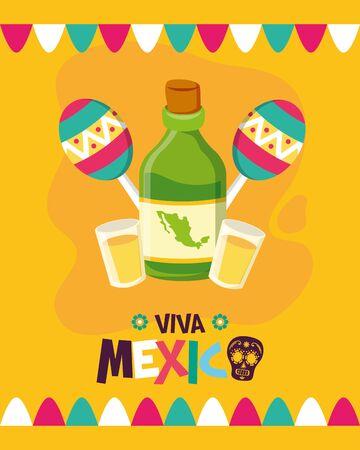 tequila bottle and maracas celebration viva mexico vector illustration