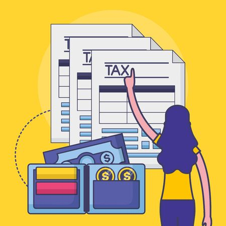 Avatar woman with tax design, Money finance accounting commerce market payment and government theme Vector illustration Çizim