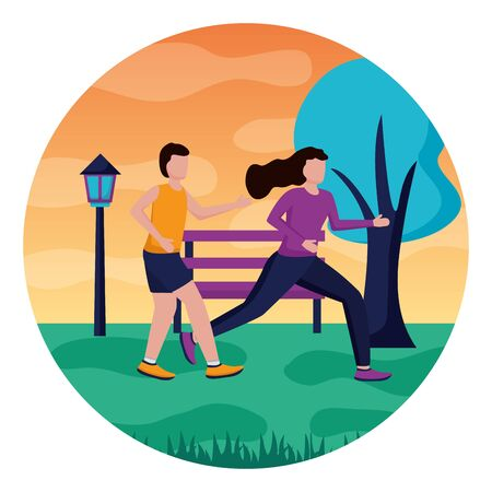 couple running activity in the outdoors vector illustration