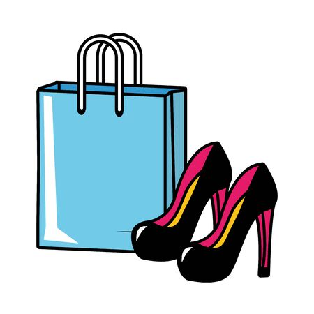 shopping bag high heel shoes pop art vector illustration 向量圖像