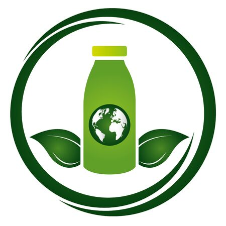 green bottle world emblem eco friendly environment vector illustration Illusztráció
