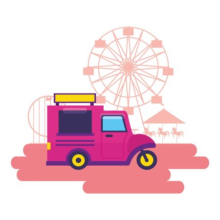food truck street fair festival vector illustration Illustration