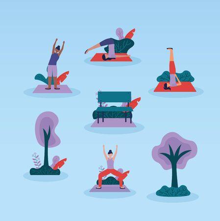 yoga outdoor park women doing exercises flexing body vector illustration  イラスト・ベクター素材