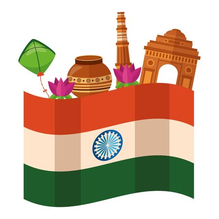 indian flag independence day with buildings and folk icons vector illustration