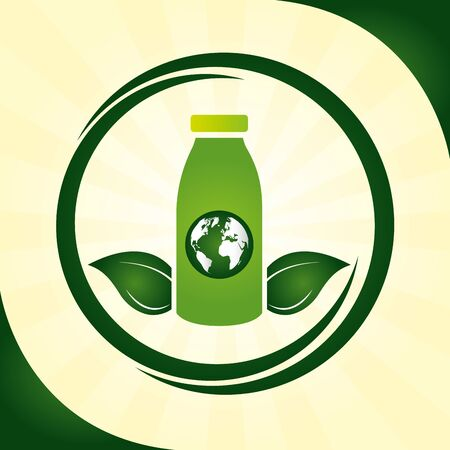 eco friendly bottle recycable world leaves vector illustration