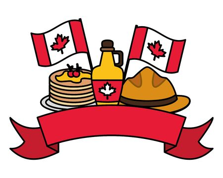 happy canada day syrup hat pancakes flags vector illustration Banco de Imagens - 130169379
