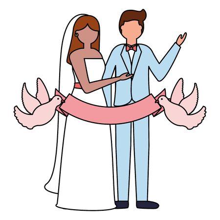 couple wedding pigeons with ribbon vector illustration Çizim