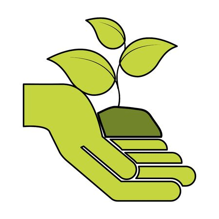 hand holding plant eco friendly environment vector illustration