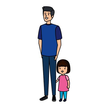 father with daughter characters vector illustration design Ilustracja