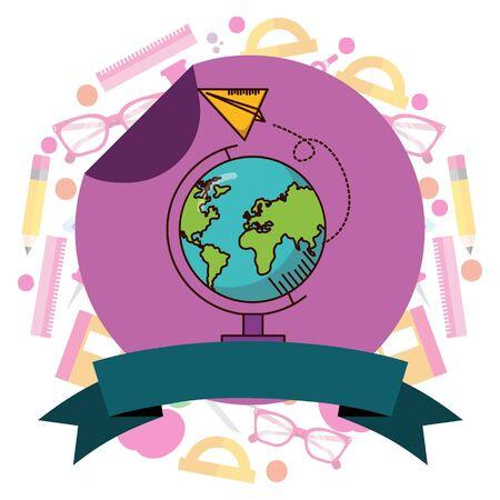 school globe paper plane supplies teacher day stikcer vector illustration