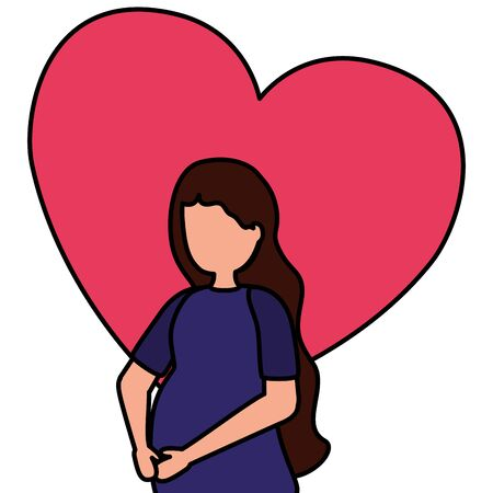 woman pregnancy belly and maternity scene flat vector illustration
