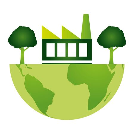 world factory trees eco friendly environment vector illustration