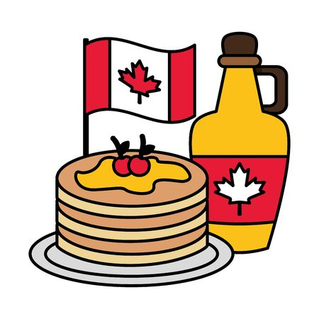 pancakes syrup with canadian flag happy canada day vector illustration