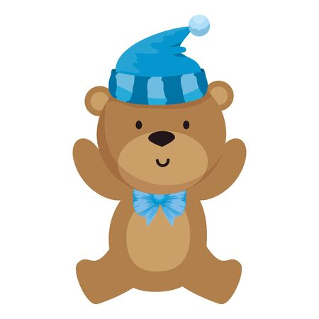 mały miś pluszowy z projektem ilustracji wektorowych kapelusz Ilustracje wektorowe