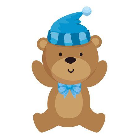 petit ours en peluche avec chapeau vector illustration design Vecteurs