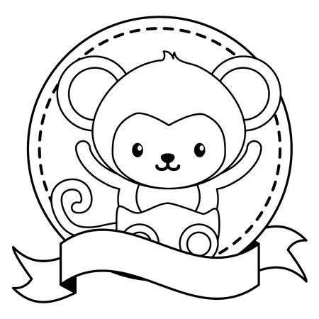 cute little monkey in frame with ribbon baby vector illustration design