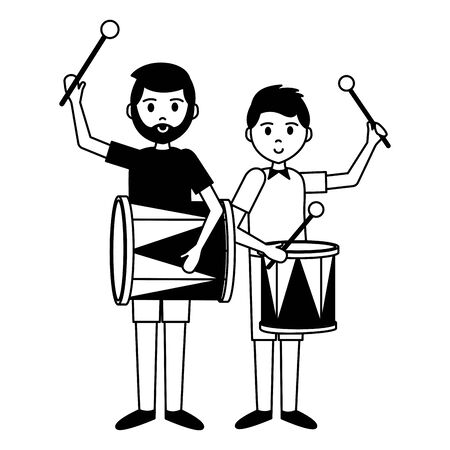 man and boy with drum carnival party vector illustration  イラスト・ベクター素材