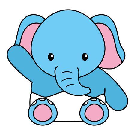 cute little elephant baby character vector illustration design