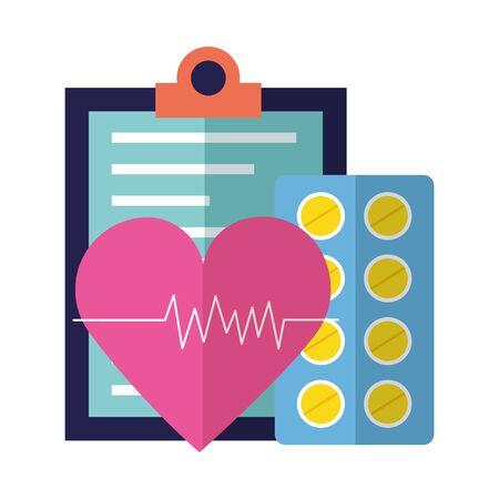medical clipboard heartbeat pharmacy pillsvector illustration