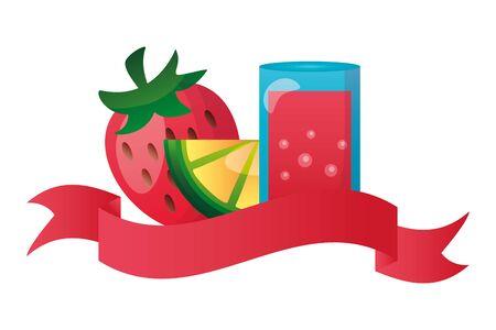 summer time holiday cocktail strawberry lemon slice vector illustration