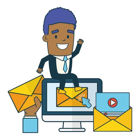 businessman with computer web send email vector illustration Ilustracja