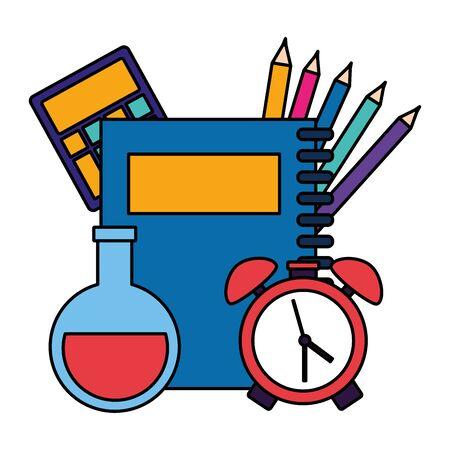 calculator apple palette color emblem back to school vector illustration 写真素材 - 130198064