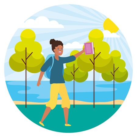 woman with bag and book landscape nature trees river vector illustration
