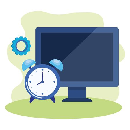 desktop computer with alarm clock vector illustration design