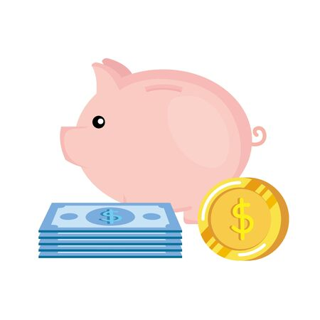 piggy savings with coins and bills money vector illustration design