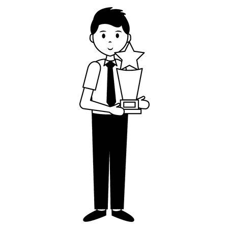man with award trophy film movie vector illustration Illustration